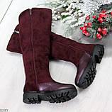 Удобные бордовые замшевые высокие зимние женские сапоги ботфорты 36-23,5 см, фото 7