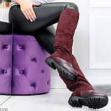 Удобные бордовые замшевые высокие зимние женские сапоги ботфорты 36-23,5 см, фото 9