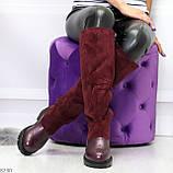 Удобные бордовые замшевые высокие зимние женские сапоги ботфорты 36-23,5 см, фото 10