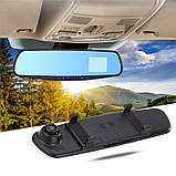Відеореєстратор дзеркало з камерою заднього виду DVR L9000 Автомобільний реєстратор на 2 камери, фото 3