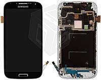 Дисплейный модуль (дисплей + сенсор) для Samsung Galaxy S4 i9500, c передней панелью,черный,оригинал