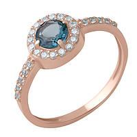 Золотое кольцо DreamJewelry с натуральным топазом Лондон Блю 0.6ct (60001261) 17 размер, фото 1