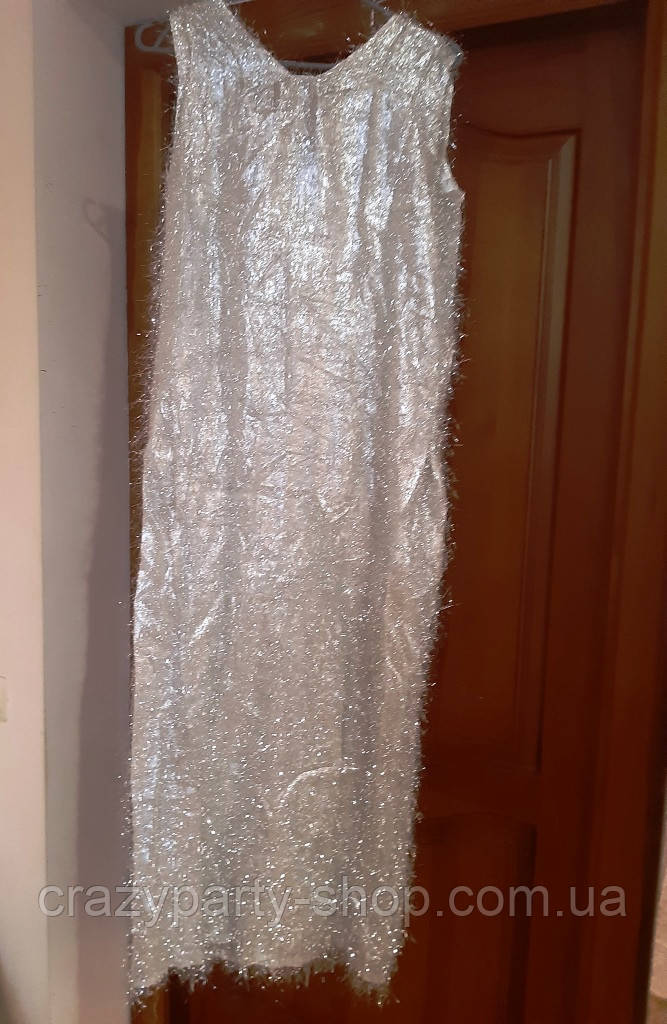 Платье карнавальное серебристое Размер М б/у