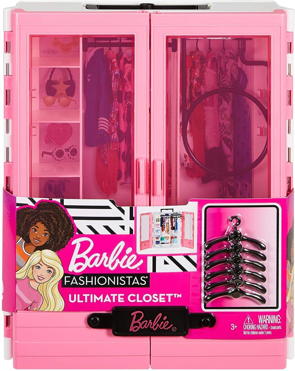 Шкаф-гардероб для одежды куклы Барби + 6 вешалок, (Barbie Fashionistas Ultimate Closet GBK11, Mattel)