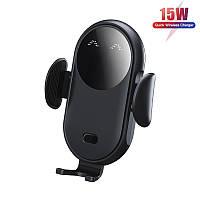 Беспроводное автомобильное зарядное устройство 15W Fast Charge для телефона держатель на дефлектор машины, фото 1