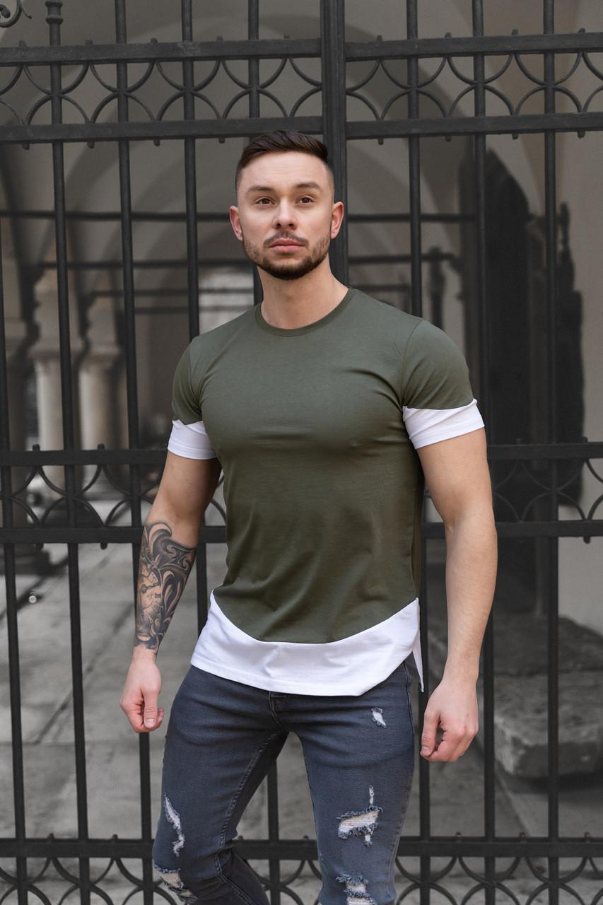 Мужская футболка Белая с черным/ Есть 5 цветов Зеленый