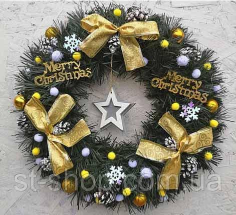 Новогодний венок искусственный рождественский ПВХ с желтыми бантами 35 см