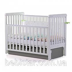 Детская кровать маятник сящиком белая с темно-серым от рождения до 3 лет Carrello Alba White-Grey