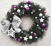 Новогодний венок искусственный рождественский ПВХ микс 35 см