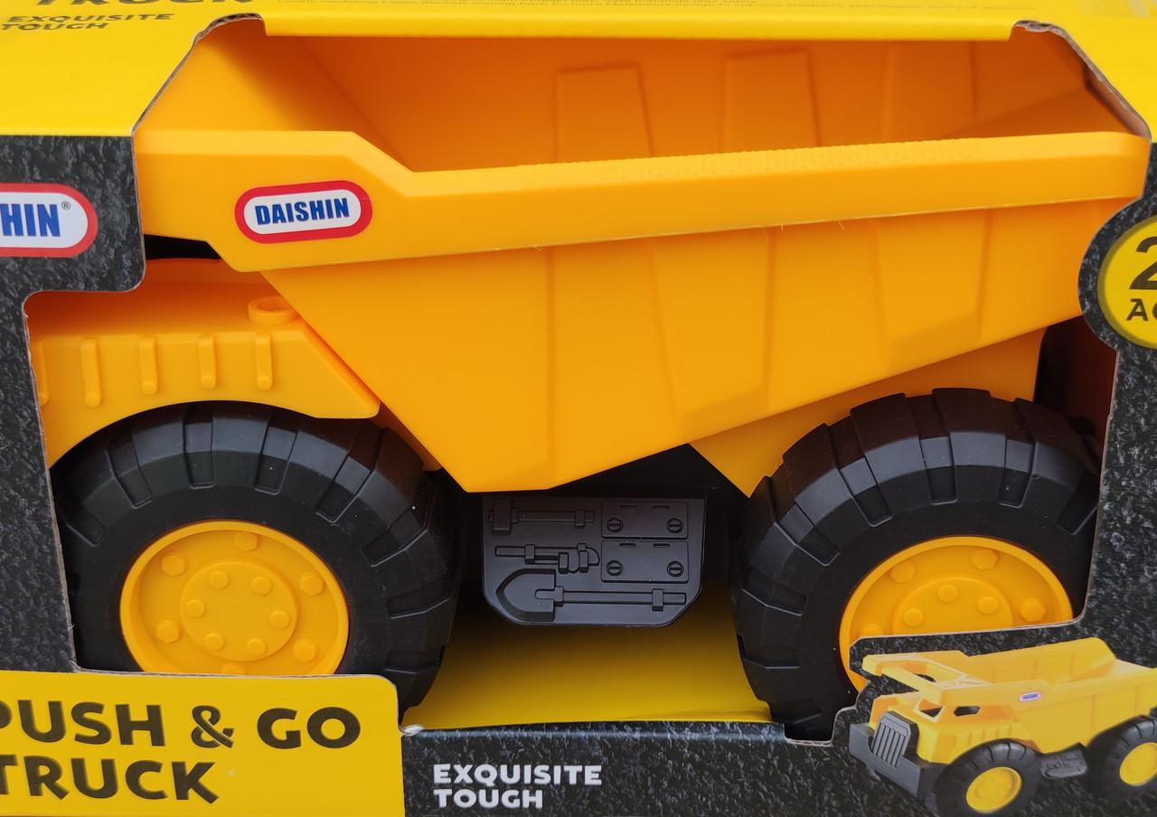 Детский игрушечный Самосвал машина грузовик строй техника игрушка Daishin желтый 26см