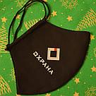 Маска с логотипом компании на заказ черная хлопковая трехслойная, фото 4