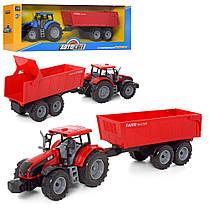 Детский игрушечный трактор с прицепом игрушка зелёный Farm 42 см, фото 3