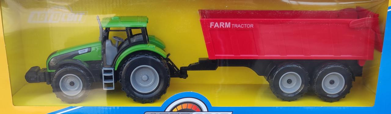 Детский игрушечный трактор с прицепом игрушка зелёный Farm 42 см