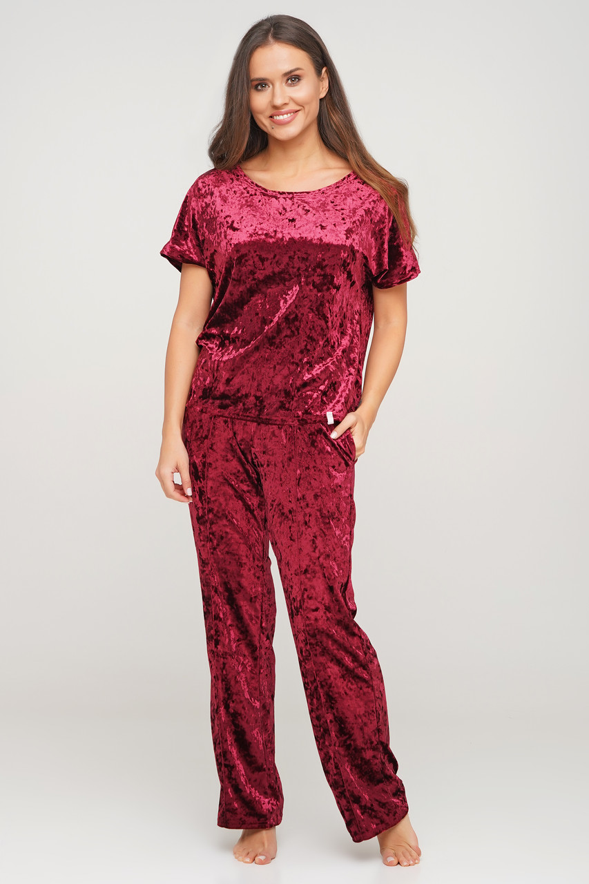 Бордовая пижама тройка из мраморного велюра