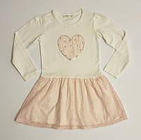 Нарядное трикотажное платье с гипюровой юбкой для девочки