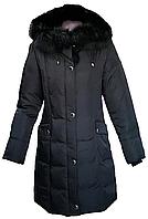 Пуховик пух натуральный женский зимний с капюшоном с натуральным мехом черный City Classic размер 50
