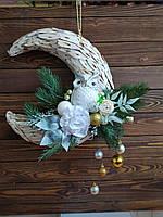 Рождественский новогодний венок на дверь (полумесяц) с совой и ветками ели, украшение для дома на Новый год