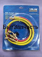 Шланг заправочный для  фреона  R-410 VALUA  0,9м (3 шт) с КРАНАМИ, фото 1