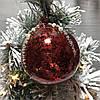 Елочный шар 8см красный антик с декором из страз и бусин
