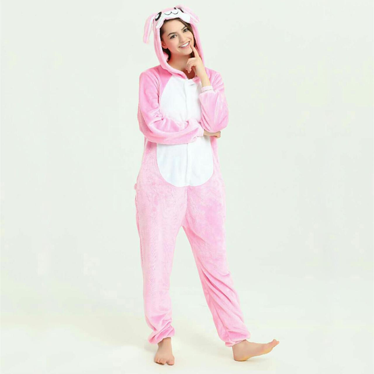 Пижамы кигуруми Заяц розовый для взрослых забавная подростковая пижама комбинезон кигуруми, размер M-L L