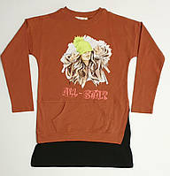 Модный теплый удлиненный свитшот на девочку подростка