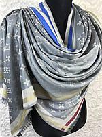Шерстяной серо-бежевый брендовый палантин двухсторонний Louis Vuitton, фото 1