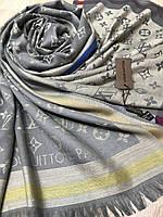 Шерстяной серо-бежевый брендовый палантин двухсторонний Louis Vuitton - купить на Kosinka.net