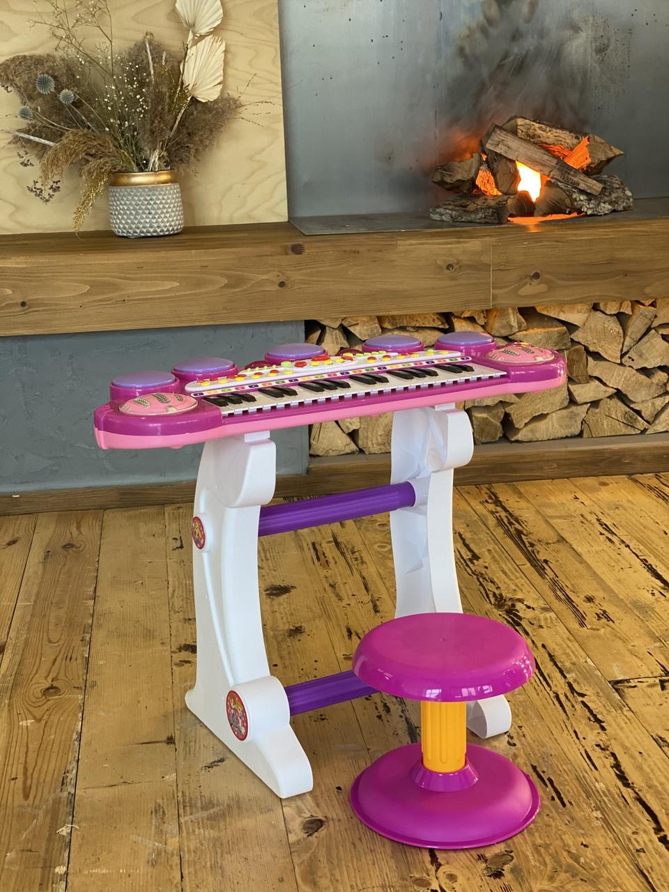 Многофункциональное детское пианино-синтезатор с USB-входом, микрофоном на съёмных ножках, со стульчиком ВВ 45