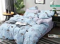 Постельный комплект двухспальный серо голубой 175х215 хлопок зонтики и звездочки
