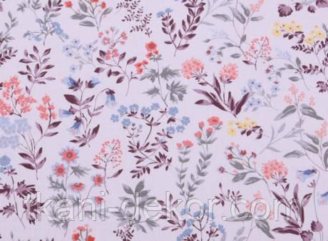 Сатин (хлопковая ткань) цветы полевые сиреневые