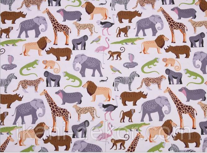 Сатин (хлопковая ткань) джунгли яркие