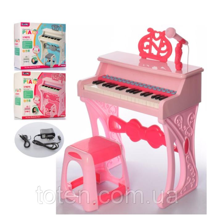 Синтезатор 37 клавиш, стульчик микрофон,MP3, запись, 8 муз.инструментов, 8 ритмов, 2 цвета, от сети 328-32-33