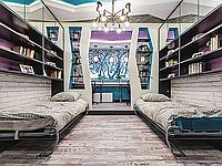 Горизонтальные откидные шкаф кровати с фотопечатью, полками и антресолями, фото 1