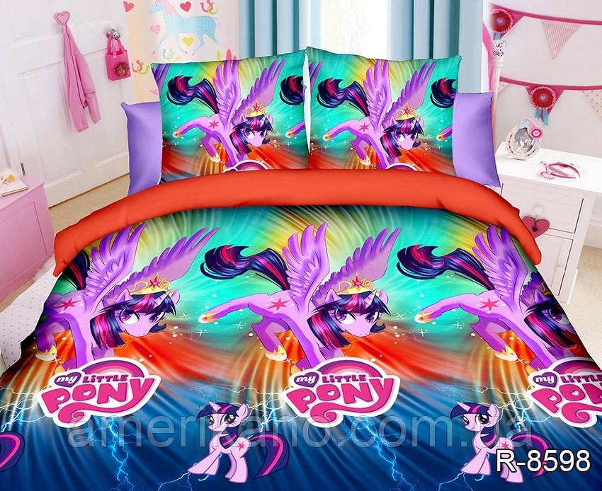 """Дитяче постільна білизна ТАГ 1.5-спальне. Тканина ранфорс. Забарвлення для дівчинки """"Поні"""""""