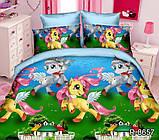 """Дитяче постільна білизна ТАГ 1.5-спальне. Тканина ранфорс. Забарвлення для дівчинки """"Поні"""", фото 3"""