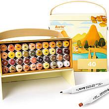 Спиртовые маркеры Arrtx Alp ASM-02YL 40 цветов, желтый тон