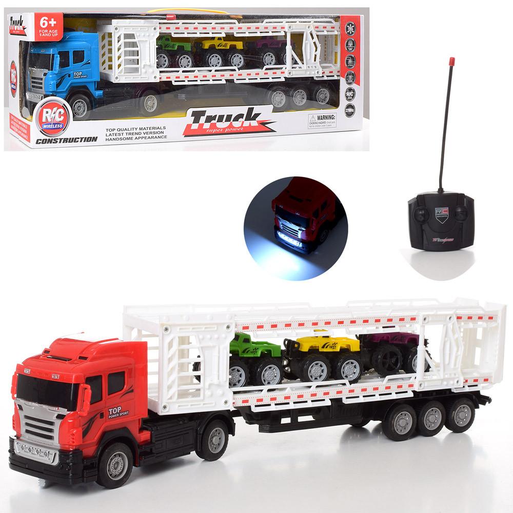 Машинка трейлер на пульте радио управлении красная автовоз