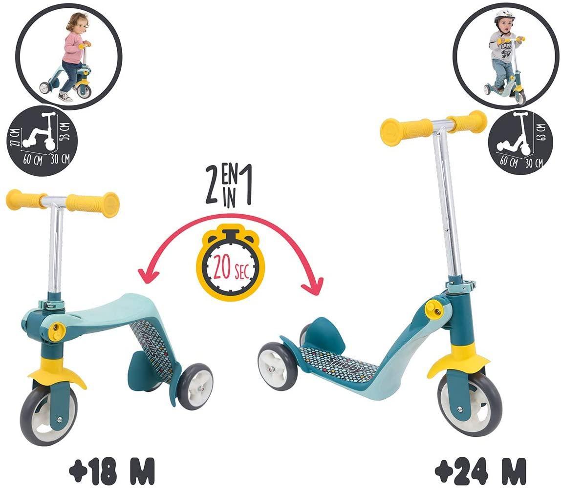 Детский самокат-трансформер 2 в 1 с металлической рамой Smoby 750612