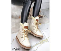 Ботинки зимние UGG бежевые натуральная кожа код 28889, фото 1