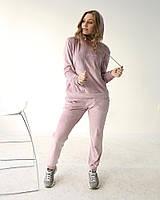Утепленный женский велюровый костюм с худи фиолетовая пудра одежда от производителя XS/S, M/L