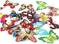 Бабочки 3D разноцветные светящиеся 3Д декор наклейки магнит