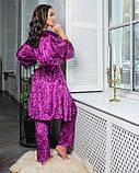 Комплект піжама + халат фіолет, фото 2