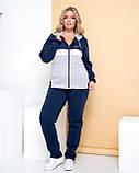 Теплый спортивный костюм женский Турецкая трехнитка на флисе Размер 50 52 54 56 58, фото 3