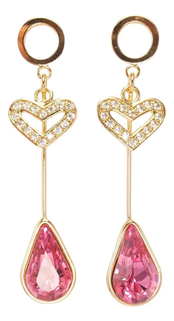 """Сережки ХР Позолота 18K з кристалами Swarovski гвоздики """"Сердечко Цирконій і Рожевий Кристал Крапля"""""""