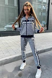 Теплый женский костюм-двойка с модным принтом 42-46 р