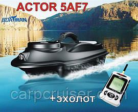 Boatman ACTOR 5AF7 с эхолотом Lucky FFW718 Прикормочный карповыйкораблик для завоза прикормки оснастки