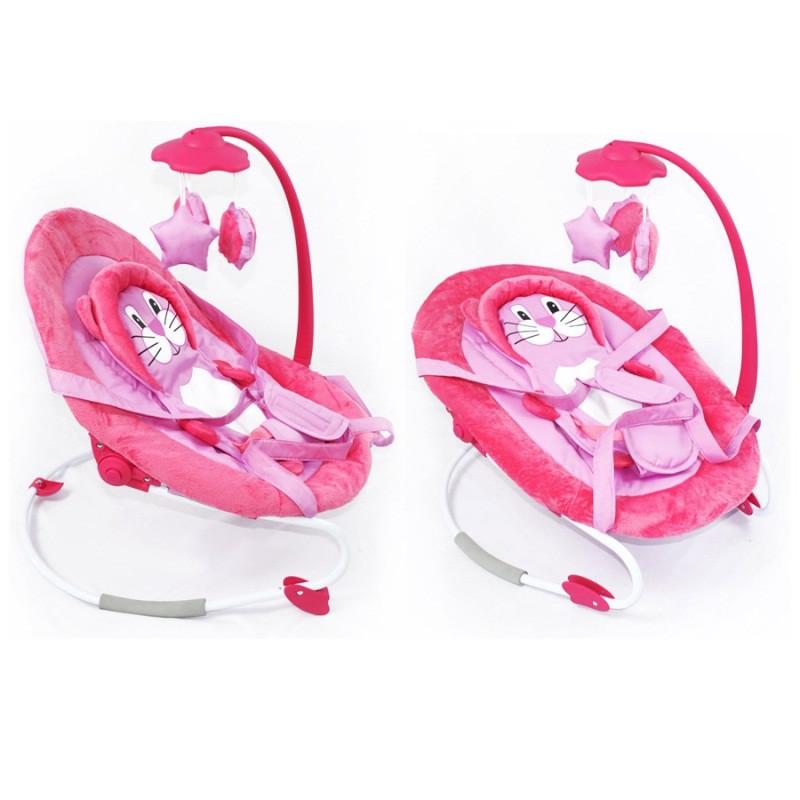 Детский шезлонг - качалка Baby Tilly арт. BB-0002 розовый
