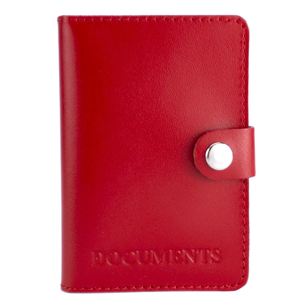 Обложка на документы кожаная на кнопке HC0035 красная