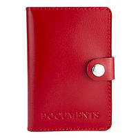 Обкладинка на документи шкіряна на кнопці HC0035 червона, фото 1