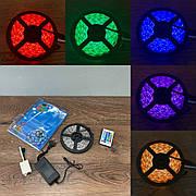 Светодиодная RGB LED лента с пультом 12в 220 вольт 5 метров ргб диодная подсветка 12v лед 5050